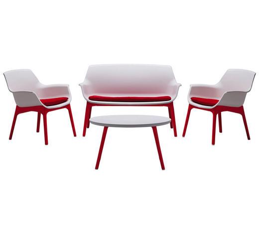 LOUNGEGARNITUR 7-teilig    - Rot/Weiß, Design, Kunststoff/Textil - Ambia Garden