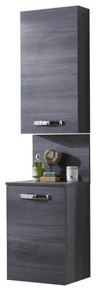 Hochschrank Türanschlag rechts Graphitfarben - Chromfarben/Graphitfarben, Design, Glas/Holzwerkstoff (40/164,8/17,6/34,8cm) - WELNOVA