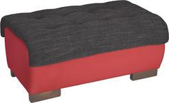HOCKER in Textil Rot, Schwarz  - Wengefarben/Rot, Design, Holz/Textil (98/43/66cm) - Carryhome