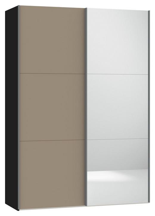 SCHWEBETÜRENSCHRANK 2-türig Hellbraun, Schwarz - Hellbraun/Silberfarben, Design, Glas/Metall (152,2/220/46cm) - Jutzler