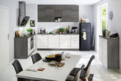 KUHINJSKI BLOK BREZ APARATOV sistem za mehko in tiho zapiranje   - bela/hrast, Moderno, leseni material (150/220/90cm) - Welnova