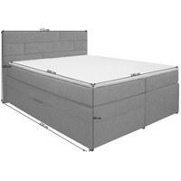 POSTEL BOXSPRING, 160 cm  x 200 cm, textil, světle šedá - světle šedá/barvy wenge, Konvenční, dřevo/textil (160/200cm) - Carryhome