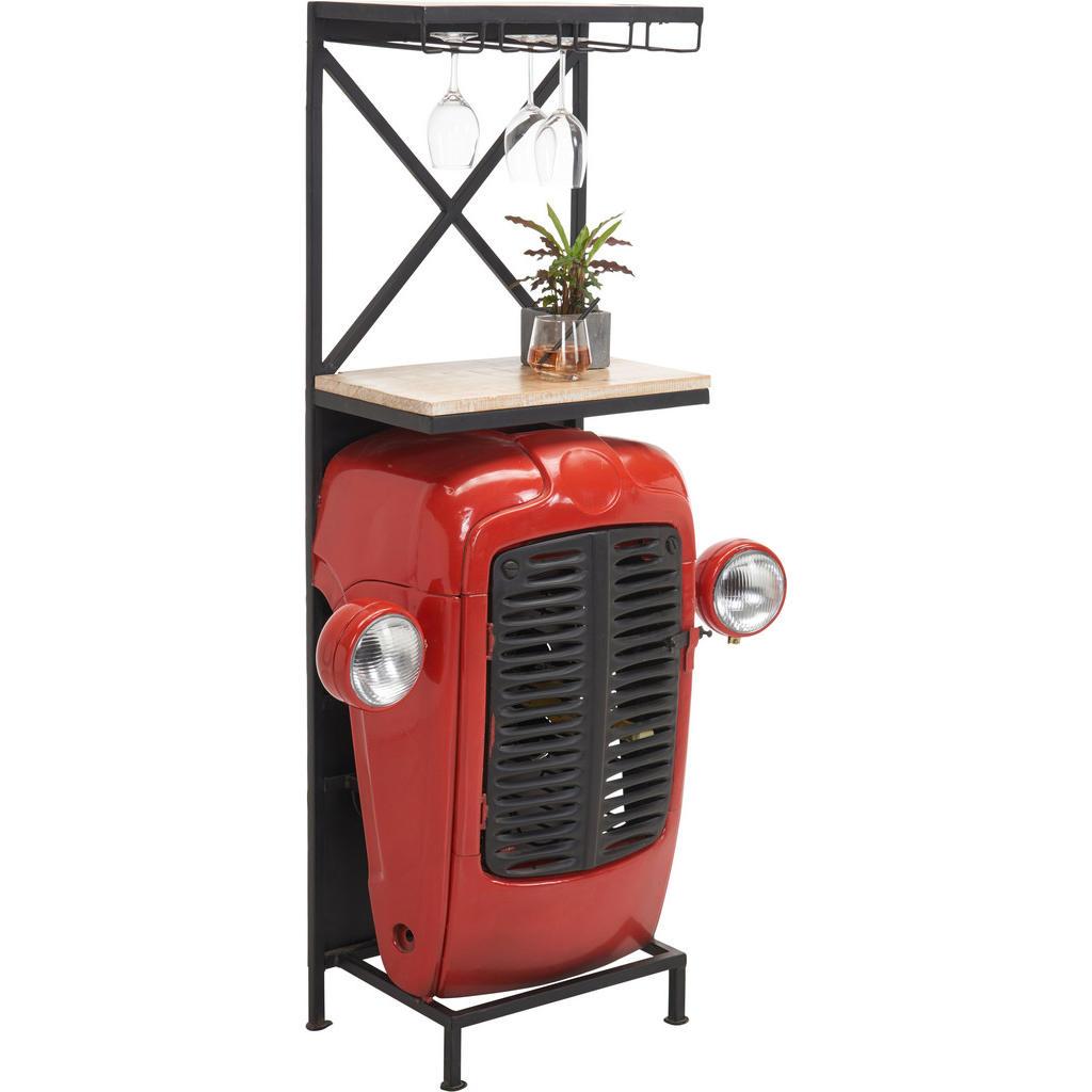 Image of Ambia Home Bar in naturfarben, rot, schwarz , Tractor , Metall , Mangoholz , massiv , 52x153x36 cm , matt, lackiert,matt, lackiert,Echtholz , 001654002801