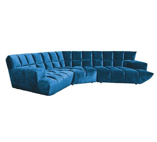 WOHNLANDSCHAFT in Textil Blau - Blau/Schwarz, Trend, Kunststoff/Textil (318/318cm) - Bretz