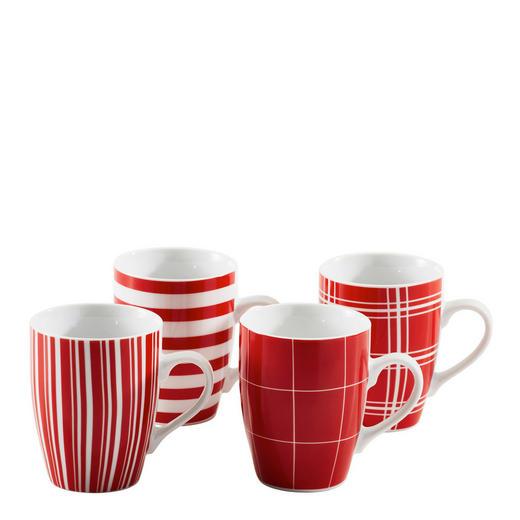 KAFFEEBECHERSET 4-teilig Keramik Porzellan Rot - Rot, Basics, Keramik (0,25l) - Homeware
