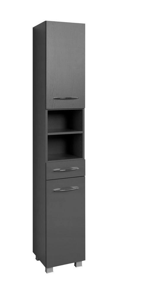 SEITENSCHRANK Graphitfarben - Chromfarben/Silberfarben, Design, Holzwerkstoff/Kunststoff (30/185/35cm) - Carryhome