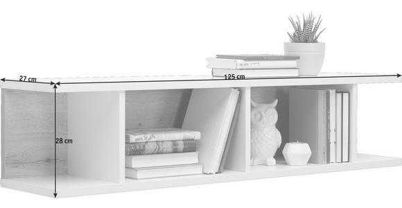 WANDBOARD in 125/28/27 cm Eichefarben, Weiß - Eichefarben/Weiß, Design, Holzwerkstoff (125/28/27cm) - Hom`in