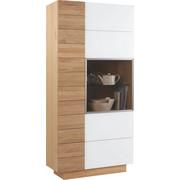 VITRINE Wildeiche massiv, mehrschichtige Massivholzplatte (Tischlerplatte) Weiß, Eichefarben  - Eichefarben/Weiß, Design, Glas/Holz (96/202/42cm) - Voglauer