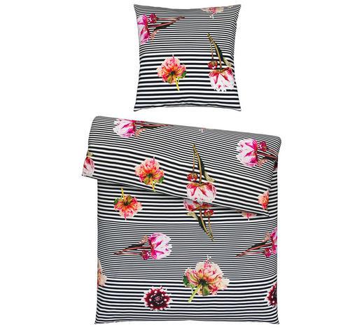 BETTWÄSCHE Satin Multicolor, Schwarz, Pink  - Pink/Multicolor, Trend, Textil (135x200cm) - Ambiente