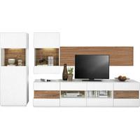 Wohnwand in Akaziefarben, Weiß - Schwarz/Weiß, Design, Glas/Holzwerkstoff (317/170/50cm) - HOM`IN
