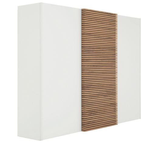 SCHWEBETÜRENSCHRANK in furniert Kernnussbaum Weiß, Nussbaumfarben - Nussbaumfarben/Weiß, Design, Holz/Holzwerkstoff (302/229,6/67,7cm) - Hülsta