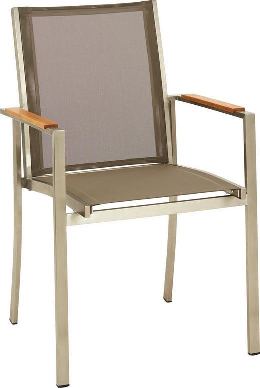 STAPELSESSEL Teakholz Edelstahl Edelstahlfarben, Taupe - Taupe/Edelstahlfarben, Design, Holz/Textil (57/91/49cm)