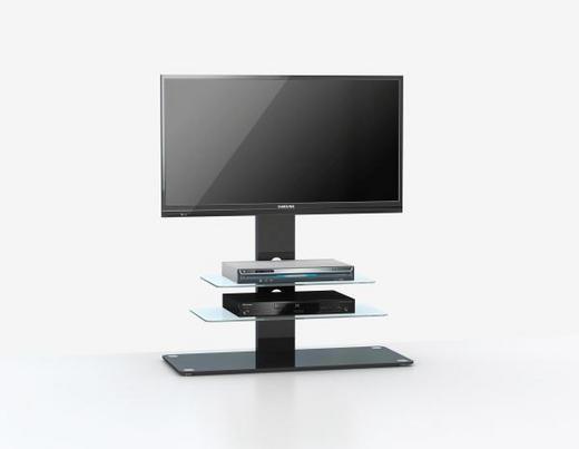 TV-ELEMENT Schwarz - Schwarz/Alufarben, Design, Glas/Metall (90/104/40cm)