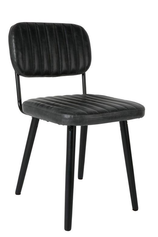 STUHL Lederlook Schwarz - Schwarz, Design, Textil/Metall (58/46/81cm)