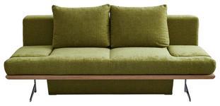 SCHLAFSOFA Olivgrün - Chromfarben/Olivgrün, Design, Holz/Textil (215/96/103cm) - Dieter Knoll