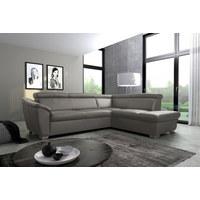 WOHNLANDSCHAFT Taupe Echtleder  - Taupe/Silberfarben, Design, Leder/Kunststoff (260/210cm) - Cantus