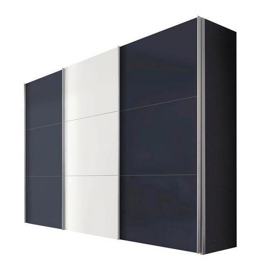 SCHWEBETÜRENSCHRANK 3  -türig Graphitfarben, Weiß - Graphitfarben/Alufarben, KONVENTIONELL, Holzwerkstoff/Metall (300/216/68cm) - Hom`in