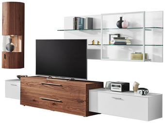 OBÝVACÍ STĚNA, barvy ořechu, bílá - bílá/barvy ořechu, Design, kov/dřevo (334,4/223/51,9cm) - Ambiente by Hülsta