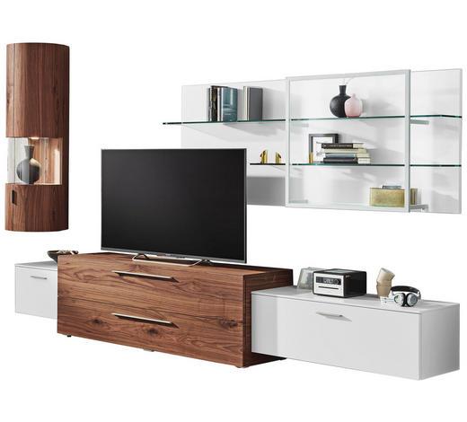 OBÝVACÍ STĚNA, bílá, barvy ořechu - bílá/barvy ořechu, Design, kov/dřevo (334,4/223/51,9cm) - Ambiente by Hülsta