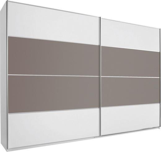 SCHWEBETÜRENSCHRANK 2  -türig Braun, Grau, Weiß - Alufarben/Braun, Design, Glas/Holzwerkstoff (270/223/69cm) - CANTUS