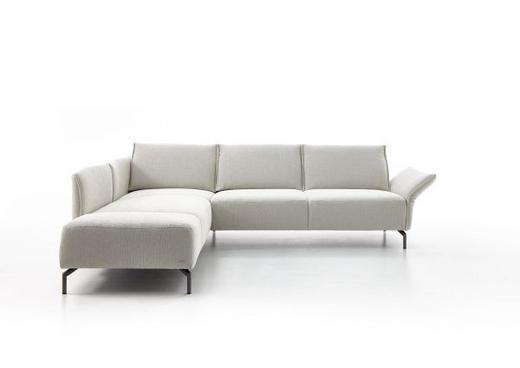 Ecksofa Flachgewebe Rücken echt - Creme/Schwarz, Design, Textil (207/274cm) - Koinor