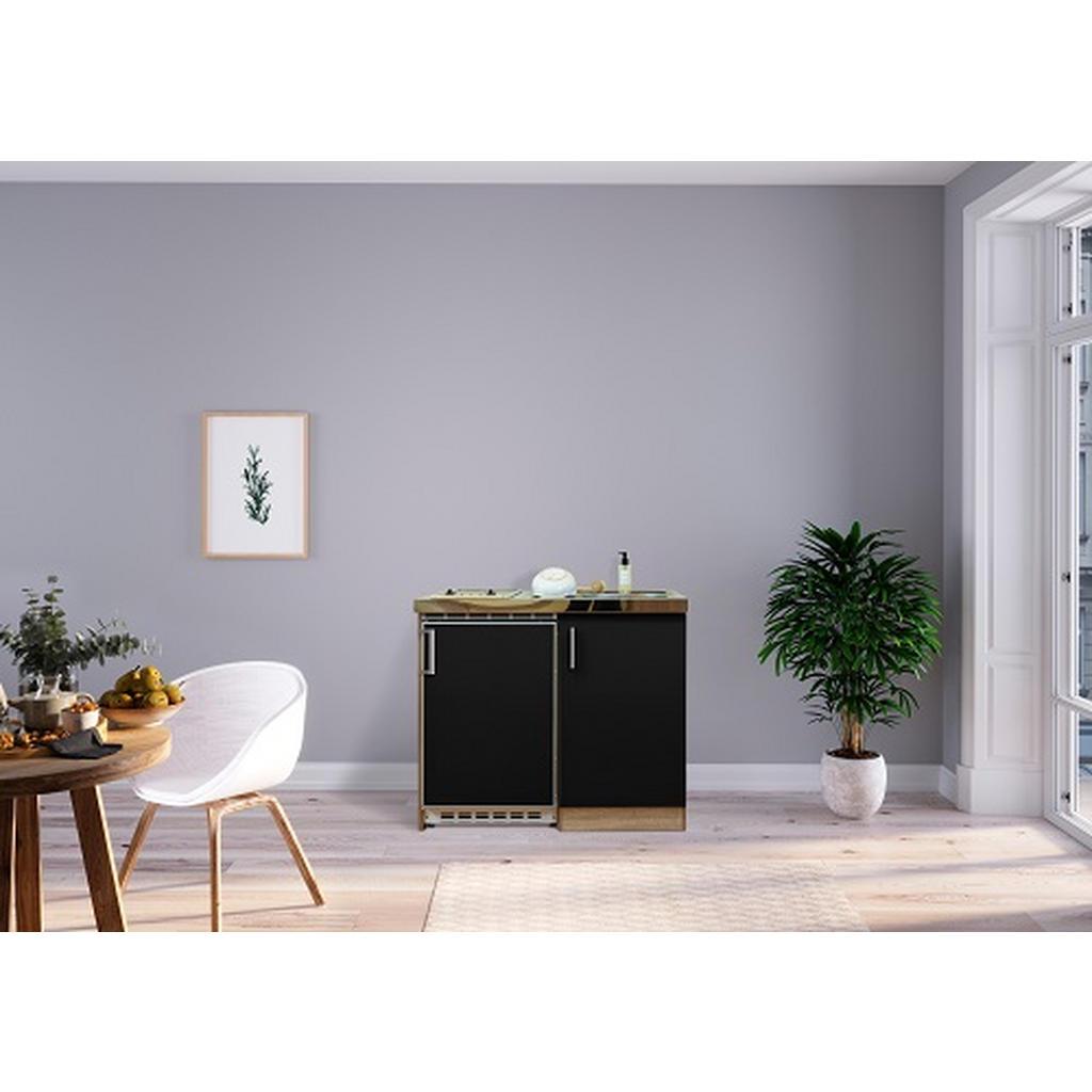 Respekta Miniküche e-geräte, spüle , Mk100Esscs , Eiche , Metall , 100 cm , Melamin,Nachbildung , Frontauswahl, links aufbaubar, rechts aufbaubar , 001899006518