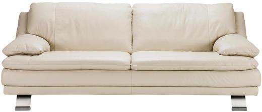 SOFFA - alufärgad/creme, Design, metall/läder (220/87/94cm) - CELINA HOME