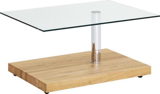Couchtisch in Eichefarben, Chromfarben - Chromfarben/Eichefarben, Design, Glas/Holzwerkstoff (100/70/44-64cm)