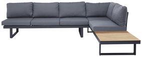 Loungegarnitur 14-teilig  - Dunkelgrau/Teakfarben, Modern, Kunststoff/Textil (285/210cm) - Amatio