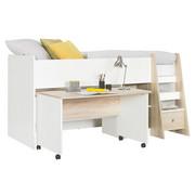 VYSOKÁ POSTEL - bílá/barvy dubu, Konvenční, kompozitní dřevo (90/200cm) - Carryhome
