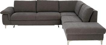 Ecksofa Rücken echt, Schlaffunktion, Stauraum - Edelstahlfarben/Dunkelgrau, Design, Textil (287/233cm) - DIETER KNOLL