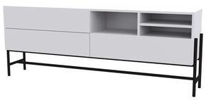MEDIABÄNK - vit/svart, Design, metall/träbaserade material (184,9/70/42,2cm) - Lomoco