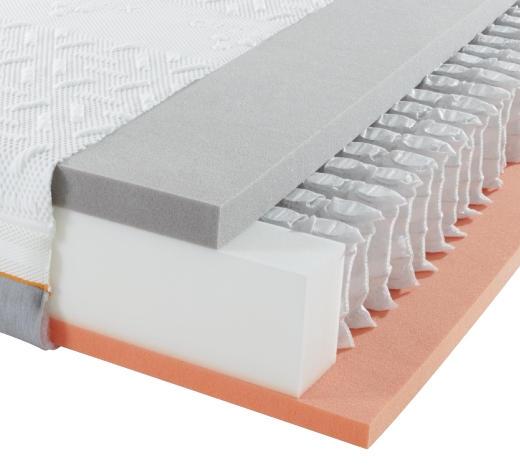 GEL-TASCHENFEDERKERNMATRATZE - Weiß/Grau, Basics, Textil (90/200/cm) - Sembella