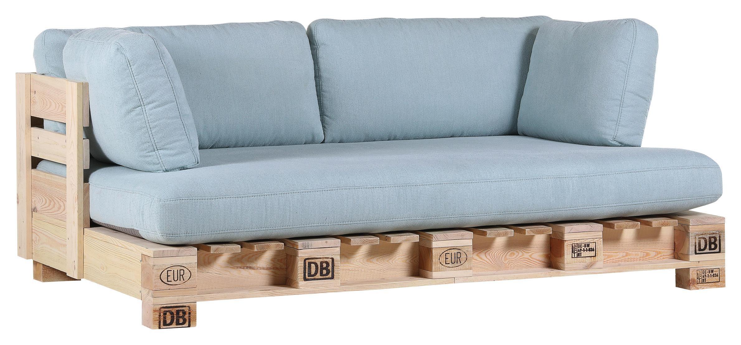 SOFA Hellblau, Naturfarben   Naturfarben/Hellblau, Design, Holz/Textil (204