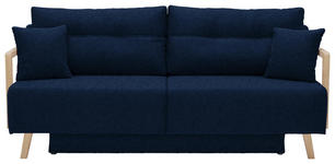 SCHLAFSOFA in Textil Dunkelblau, Edelstahlfarben - Edelstahlfarben/Naturfarben, KONVENTIONELL, Holz/Textil (200/92/95cm) - Venda