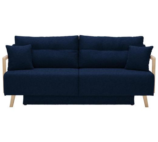 SCHLAFSOFA in Textil Edelstahlfarben, Dunkelblau - Edelstahlfarben/Naturfarben, KONVENTIONELL, Holz/Textil (200/92/95cm) - Venda