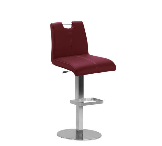 BARHOCKER in Rot, Edelstahlfarben - Edelstahlfarben/Beige, Design, Textil/Metall (42/107/48cm) - Dieter Knoll