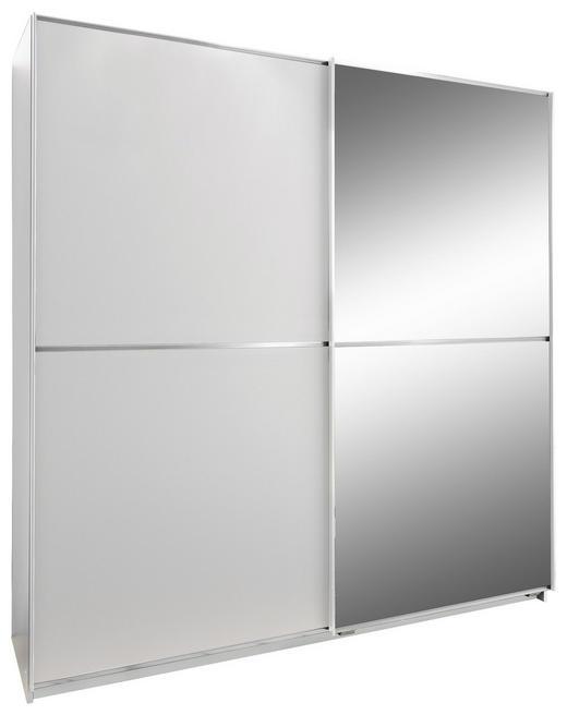 SCHWEBETÜRENSCHRANK 2-türig Weiß - Weiß, Design, Glas/Holzwerkstoff (135/198/64cm) - Xora