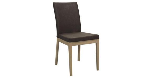 STUHL in Holz, Textil Braun, Eichefarben - Eichefarben/Braun, Natur, Holz/Textil (47/95/43cm) - Cantus