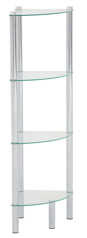 BADEZIMMERREGAL   Chromfarben, Basics, Glas/Metall (30/104/30cm)