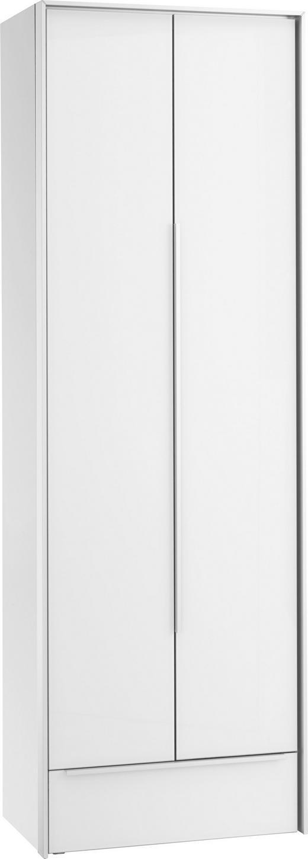 GARDEROBENSCHRANK 63/189/38 cm - Alufarben/Weiß, Design, Glas/Holzwerkstoff (63/189/38cm) - Dieter Knoll