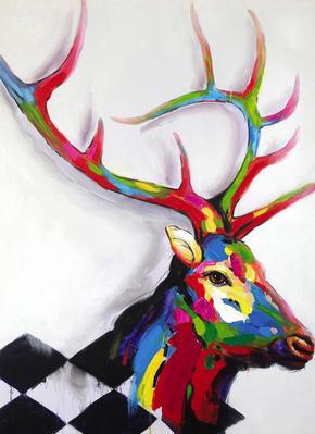 OLJEMÅLNING - multicolor, Basics, trä/textil (70/100cm) - Monee