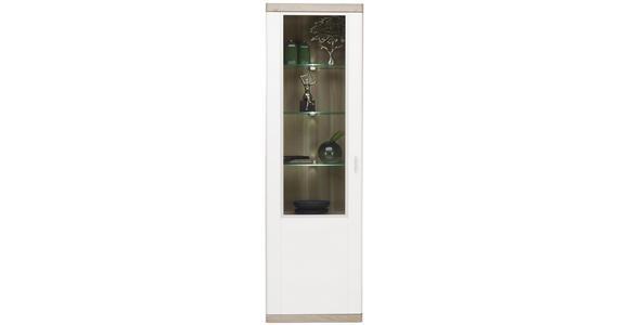 VITRINE in Weiß, Eichefarben  - Eichefarben/Alufarben, KONVENTIONELL, Glas/Holzwerkstoff (60/197/40cm) - Xora