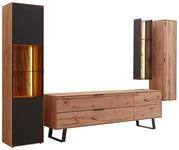 WOHNWAND Buche massiv Anthrazit, Buchefarben - Anthrazit/Buchefarben, Design, Glas/Holz (339/206/49cm) - Valnatura