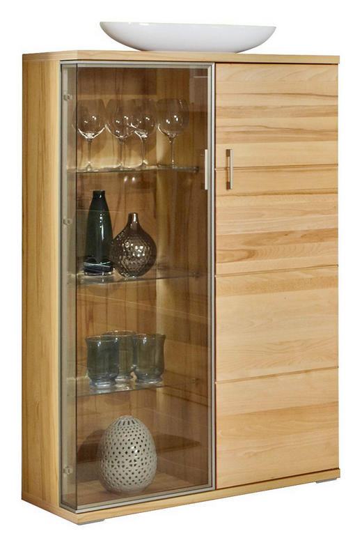 VITRINE Kernbuche Buchefarben - Buchefarben/Silberfarben, Basics, Glas/Holzwerkstoff (90/143,4/40,4cm) - CANTUS