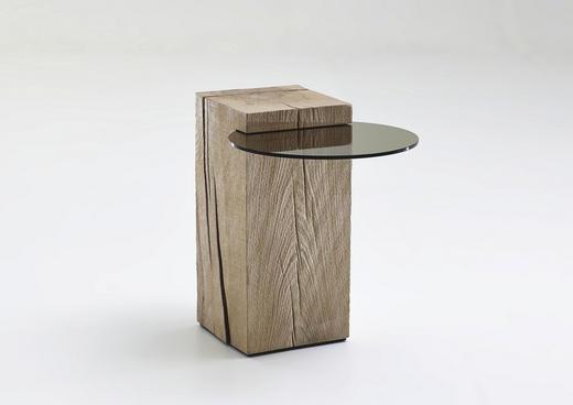 BEISTELLTISCH Kerneiche vollmassiv rund Eichefarben - Eichefarben, Design, Glas/Holz (58/40/56cm) - Valnatura