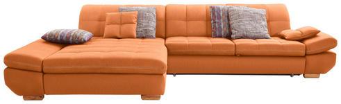 WOHNLANDSCHAFT in Textil Orange  - Eichefarben/Beige, Natur, Holz/Textil (204/341cm) - Xora