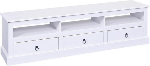 TV-ELEMENT Kiefer massiv lackiert Weiß - Schwarz/Weiß, LIFESTYLE, Holz/Metall (173/45/39cm) - Carryhome