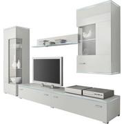 WOHNWAND Weiß  - Silberfarben/Weiß, Design, Glas/Kunststoff (230/148/42cm) - Carryhome