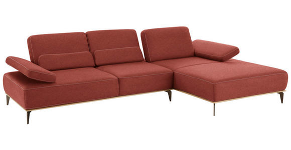 WOHNLANDSCHAFT in Textil Rot - Beige/Rot, Natur, Textil/Metall (298/178cm) - Valnatura